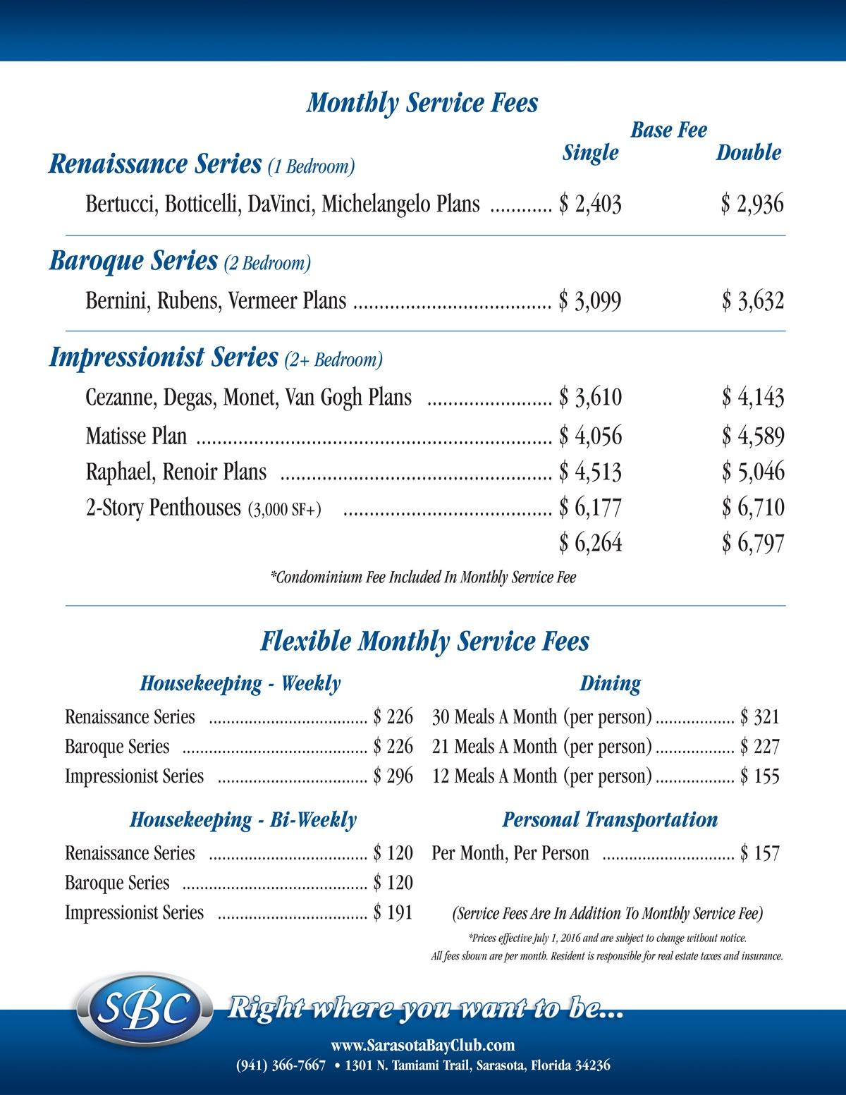 Service Fee Pricing